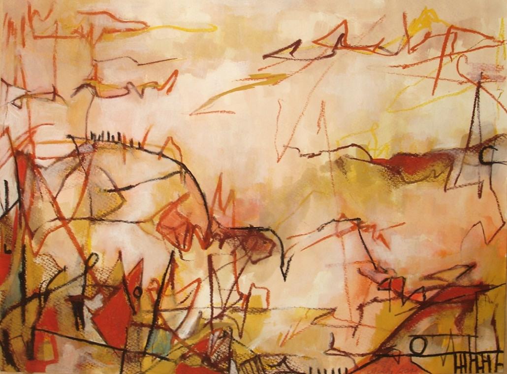 Saskia Jirka, geb. Oltmanns-Abstrakte Naturformen 2009 Öl auf Packpapie_60x200cm